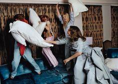 PILLOW FIGHT!!! {Natalia Vodianova, Elle Fanning, Hailee Steinfeld + Chloë Moretz For Vogue}