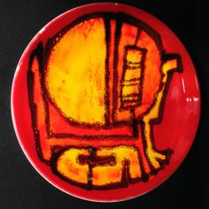 Vintage 1970s Poole Pottery Delphis Red Yellow Orange Abstract Bowl Carol Cutler