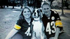 My engagement Photo... In our steelers jerseys with our boxer