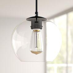 Mercury Row® Snead 1 - Light Single Globe Pendant & Reviews | Wayfair Globe Pendant Light, Black Pendant Light, Pendant Lighting, Hanging Globe Lights, Kitchen Pendants, Glass Globe, Strip Lighting, Glass Shades, Light Up