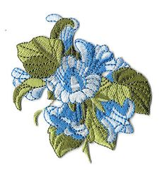 Flowers - Gardening - Blue Angel's Trumpet - Embroidered Iron On Applique Patch