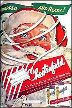 Santa smoking? I love the illustrative style on this advertisement. I wish it did not have to do with cigarettes.