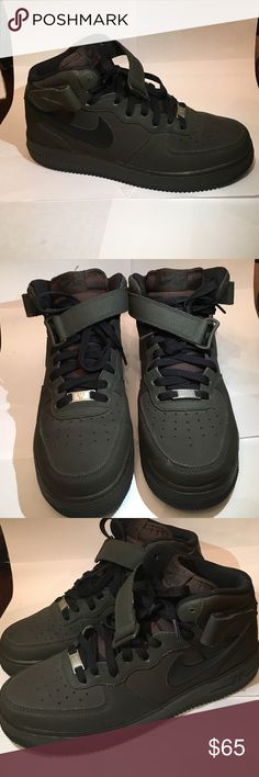 Nike Air force one Nike air force one brownish green color with brown tongue black trim Nike Shoes Sneakers
