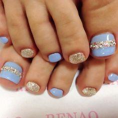 Blue and Rhinestone Toe Nail Art.