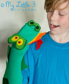 No Sew Dragon Sock Puppet, All you need to make him is a sock, felt and some glue.