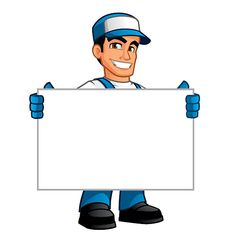 Handyman, he has a blank billboard where you can put your text Gas Mask Art, Masks Art, Engineer Cartoon, Junk Hauling, Hvac Air Conditioning, Computer Maintenance, Cleaning Master, Construction Logo, Graphics Fairy