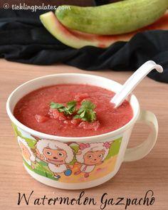 Watermelon Gazpacho by ticklingpalates Watermelon Gazpacho Recipe, Watermelon Punch, Raw Food Recipes, Vegetarian Recipes, Vegan Vegetarian, Diet Recipes, Healthy Recipes, Summer Soup Recipes, Tapas