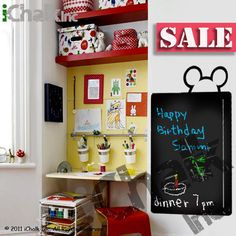 30% off - Mickey Mouse Chalkboard Vinyl Sticker Wall Decal for Home or Office - Blackboard Vinyl Sticker Chalkboard Planner. $30.00, via Etsy.