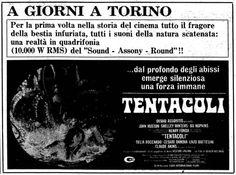 """Tentacoli"" (1977) di Oliver Hellman (Ovidio G. Assonitis), con John Huston, Shelley Winters ed Henry Fonda. Italian release: February 28, 1977 #MoviePosters #HorrorMovies"