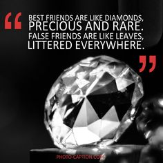 ''Best friends are like diamonds, precious and rare. False friends are like leaves, littered everywhere.'' Check out the link in the bio for more best friend captions Caption For Friends, False Friends, Friends Are Like, Best Friends, Best Friend Captions, Photo Caption, Quote Of The Day, Me Quotes, Celebrations