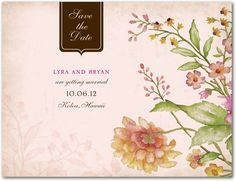 Signature Ecru Save the Date Cards - Floral Tapestry by Wedding Paper Divas