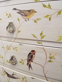 Close up view of paint and decoupage dresser...lovely