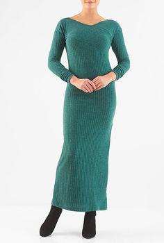 I <3 this Pieced rib sweater knit maxi dress from eShakti