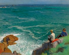 Laura Knight (English Impressionist painter known for painting the world of London's theatre, ballet and circus) 1877 - The Green Sea, Lamorna, ca. oil on canvas, 61 x 76 cm. x 30 in. Wassily Kandinsky, August Sander, Albert Bierstadt, Franz Marc, Royal Academy Of Arts, Time In The World, English Artists, British Artists, Irish Art