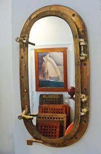 Brass Yacht Porthole Re-purposed Nautical Mirror at SkipjackNauticalW. Brass Yacht Porthole Re-pur Nautical Mirror, Nautical Theme Decor, Nautical Bathroom Decor, Nautical Home, Nautical Style, Bathroom Colors, Coastal Style, Steampunk Bathroom, Porthole Mirror