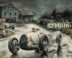"""Rosemeyer in the rain"" 1936 German Grand Prix by Vaclav Zapadlik"
