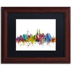 Trademark Fine Art Kuala Lumpur Malaysia Skyline II Canvas Art by Michael Tompsett Black Matte, Wood Frame, Size: 11 x 14, Multicolor