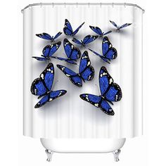 Vivid Thick Waterproof Butterfly Print 3D Shower Curtain on sale, Buy Retail Price 3D Shower Curtains at Beddinginn.com