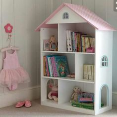 This Liberty House Toys Wooden Dollhouse Bookcase is a timeless piece of furniture for your child's bedroom or playroom as it features plenty of storage with a classic pink and white finish. Dollhouse Bookcase, Wooden Dollhouse, Liberty House, Princess Room, Little Girl Rooms, New Room, Kids Furniture, Furniture Storage, Furniture Online