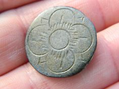 Post Medieval Pewter hand etched  button flower / rose Metal detecting detector  £8
