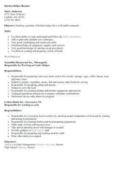 resume examples kitchen helper examples helper kitchen resume resumeexamples