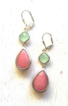 Bridesmaid Earrings in Coral Pink Mint and Silver.