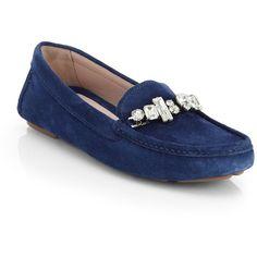 Miu Miu Donna Jeweled Suede Loafers