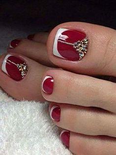 Pretty Toe Nails, Cute Toe Nails, Fancy Nails, Trendy Nails, My Nails, Toenail Art Designs, Pedicure Nail Designs, Pedicure Nail Art, Toe Nail Art