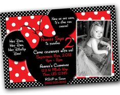 SALE Minnie Mouse Invitations with FREE Thank you cards, Minnie Mouse Birthday, Red Minnie Mouse invitations, Minnie Mouse party by SkyeCreation on Etsy https://www.etsy.com/listing/101067973/sale-minnie-mouse-invitations-with-free