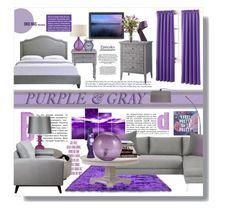 """""""PURPLE & GRAY"""" by angelflair ❤ liked on Polyvore featuring interior, interiors, interior design, home, home decor, interior decorating, Sun Zero, Americanflat and Trademark Fine Art"""