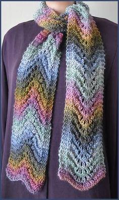 Mochi Plus Feather-Fan Stitch Scarf - Crystal Palace Yarns - free knit scarf pattern