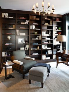 Cool 39 Modern Home Office Design Ideas For Apartment. Home Library Rooms, Home Library Design, Home Libraries, Office Interior Design, Office Interiors, Design Desk, Library Bedroom, Study Design, Office Designs
