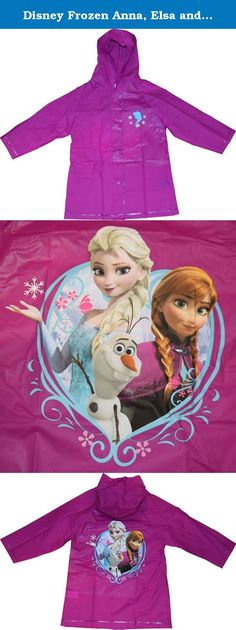 Disney Frozen Anna, Elsa and Olaf Girl's Raincoat (Medium 4-5). Hugs, cuddles and kisses! Brighten up any rainy day with this adorable Disney Frozen raincoat rain slicker! This Disney Frozen raincoat features snap button closure and attached hood for added protection. This Disney Frozen overcoat raincoat is a cute and colorful way to stay dry and your little one will definitely love it!.