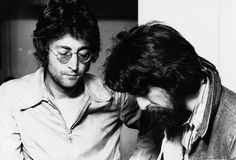 John Lennon and George Harrison during the Imagine sessions at Ascot in the summer of 1971. Description from thebeatlesrarity.com. I searched for this on bing.com/images