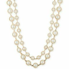 """Anne Klein Imitation Pearl Necklace Anne Klein two row silhouette  pearl embellished necklace in gold tone mixed metal. Approx. length: 17"""" with 3"""" extender. Anne Klein Jewelry Necklaces"""