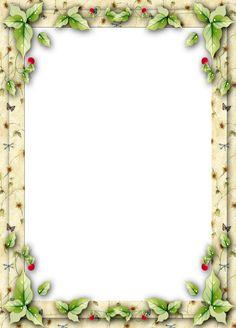 Christmas Frame with Mistletoe Leaves
