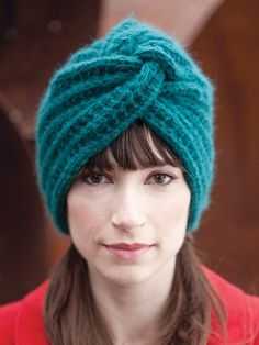 It looks complicated, but this stunning turban-style hat is actually constructed from a basic rectangle knit in a simple textured stitch.