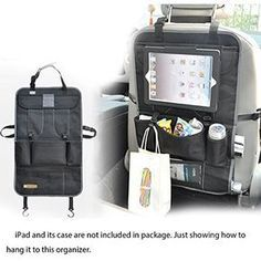 Car Double Back Seat Organiser Back Seat Bag Tool Bag With iPad Compartment�-�Back Seat Bag Waterproof Back with Protective Clear iPad Tablet PC Holder