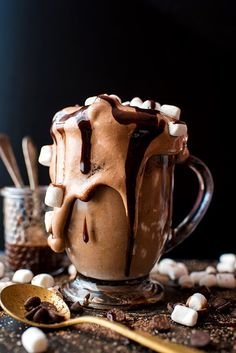 This easy Frozen Hot Chocolate recipe is rich and chocolaty, and uses just three ingredients! Inspired by Serendipitys frozen hot chocolate, this homemade no-churn ice cream is a perfect holiday dessert. Hot Chocolate Ice Cream, Frozen Hot Chocolate, Homemade Hot Chocolate, Hot Chocolate Recipes, Chocolate Heaven, Holiday Desserts, Fun Desserts, Holiday Recipes, Dessert Drinks