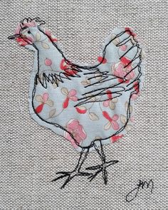 Machine Embroidery Projects Blue chicken - framed freestyle machine embroidery by carlasisters Freehand Machine Embroidery, Free Motion Embroidery, Machine Embroidery Patterns, Hand Embroidery Designs, Free Motion Quilting, Embroidery Art, Machine Applique, Applique Quilt Patterns, Applique Ideas