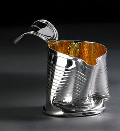 Crushed Can Jug, 'Packaging' Collection, Britannia silver with Gold ...