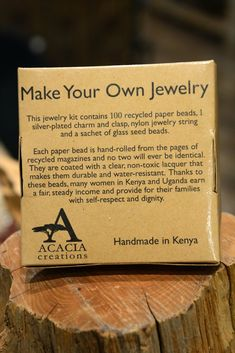 Our Fair Trade Recycled Paper Jewelry Kit would make a great gift for any artist, child or jewelry lover in your life!  Now anyone can make Fair Trade Jewelry! Each box comes with 100 loose assorted handmade paper beads, a silver plated charm, 50 inches of nylon jewelry thread and a silver-plated spring ring clasp that's easy for even novice jewelry makers. It also includes a small bag of glass seed beads - everything you need to get started! Each kits tells the story of our paper beads. ...
