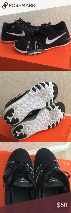 Women's Nike Free TR 6 size 8! Black/Grey/White! This is a pair of Women's Nike Free TR 6 in size 8. Color is black/Grey/white with mesh upper with lightweight synthetic material in key areas designed for high-intensity gym-based training dynamic Flywire for support and stability in key training zones lace-up closure phylite midsole for lightweight cushioning strategically-placed rubber pods in heel and forefoot. These have only been worn a few times. The insoles have been taken out as seen…
