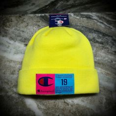Neon Yellow, Pink Blue, Hot Pink, Ski Hats, Cool Hats, Blue Accents, Cool Fabric, Champion, Scarves