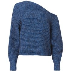 T By Alexander Wang Chunky Mohair Asymmetrical Sweater (7.380.425 VND) ❤ liked on Polyvore featuring tops, sweaters, blue, chunky sweater, blue top, asymmetrical tops, t by alexander wang and t by alexander wang top