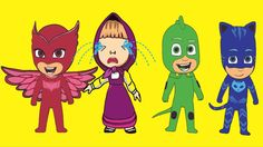 #PJ Masks Catboy Gekko Owlette with Masha's #Cry At Beach When #Lost her...