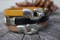 Ouroboros Snake Bracelet Mens Leather by PepperPotLeatherShop
