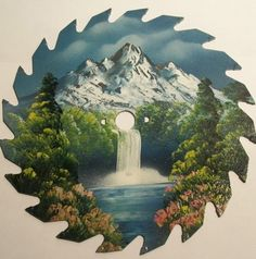Metal Saw Blade Hand Painted Mountain Forest Waterfall Foliage Round 8 Inch | eBay