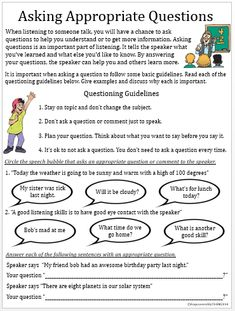 Love it. Helps the students to contemplate their questions and their appropriateness to the conversation.
