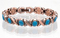 SOLID COPPER LINK MAGNETIC TURQUOISE BRACELET health stress healing *** Check out this great product-affiliate link.